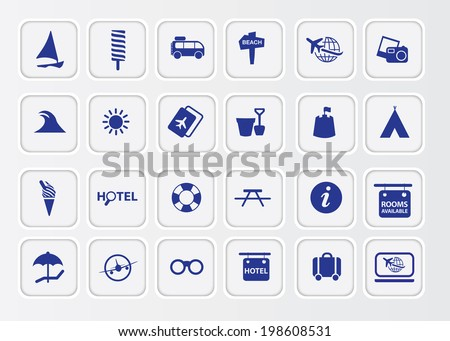 big collection of modern white retro holiday icons - stock vector