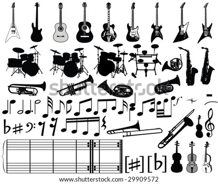 Big collection of musical elements for design use - stock vector