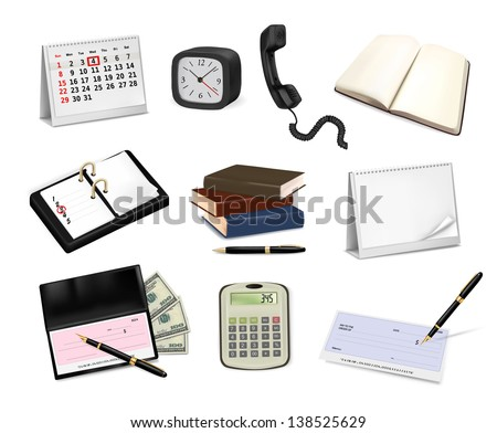 Big collection of office supplies. Vector - stock vector