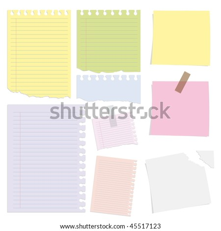 Big collection of paper message set - stock vector