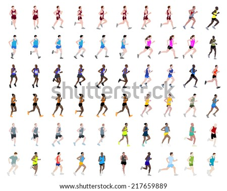big collection of people running illustrations - stock vector