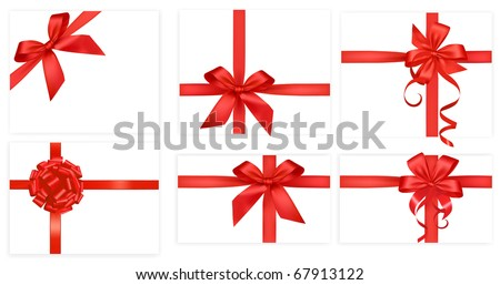 Big collection of red gift bows. Vector. - stock vector