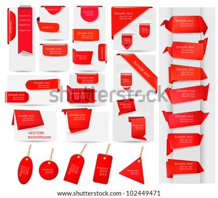Big collection of red origami paper banners and stickers. Vector illustration. - stock vector