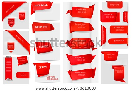 Big collection of red origami paper banners and stickers. Vector illustration.