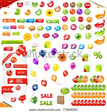 Big Collection Of Sale Elements, Isolated On White Background, Vector Illustration - stock vector