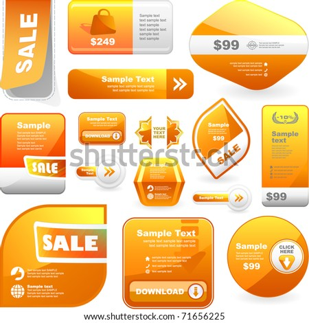 Big collection of sale elements - sticker, coupon, brochure template, offer banner. Vector design label for sale.