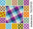 Big collection of seamless plaid patterns. Volume 12 - stock photo