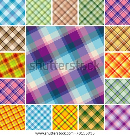 Big collection of seamless plaid patterns. Volume 12 - stock vector