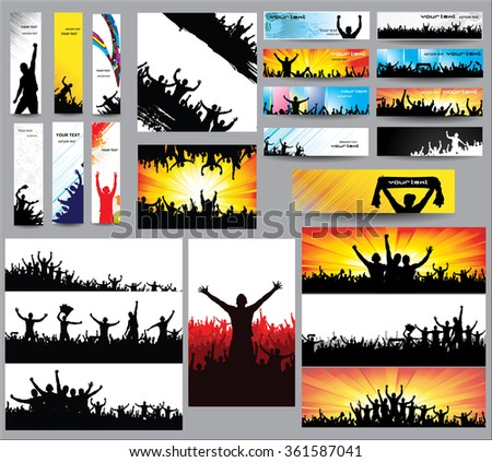 Big collection of silhouettes.And advertising banner for sports championships and concerts. - stock vector