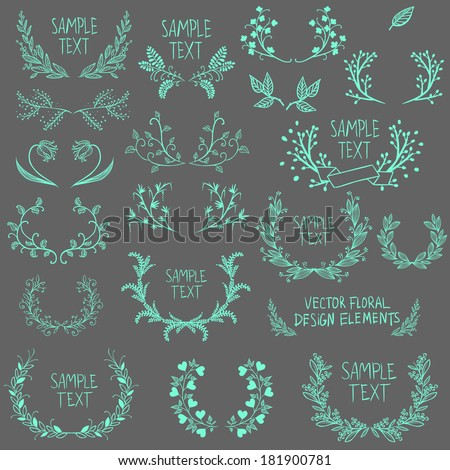 Big collection of symmetrical floral graphic design elements - stock vector