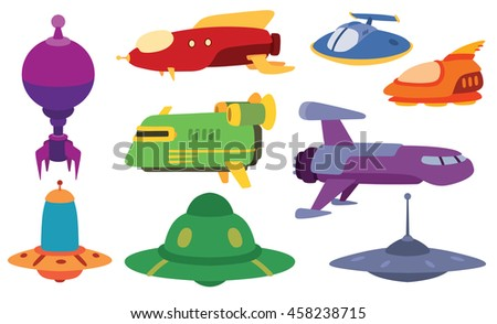 Big collection of UFO crafts and space stations silhouette vector. Unidentified antenna planet travel universe UFO spaceship. Flying technology science UFO spaceship mystery rocket, cartoon design. - stock vector