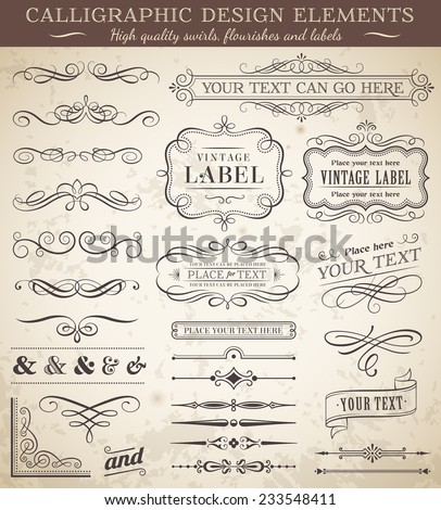 Big collection of vector decorations, swirls, banners and more vintage design elements - stock vector