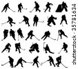 Big collection of vector ice hockey players silhouettes - stock vector