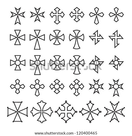Big collection of vector isolated crosses (crosses set) - stock vector