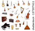 Big collection of vector music instruments - stock vector
