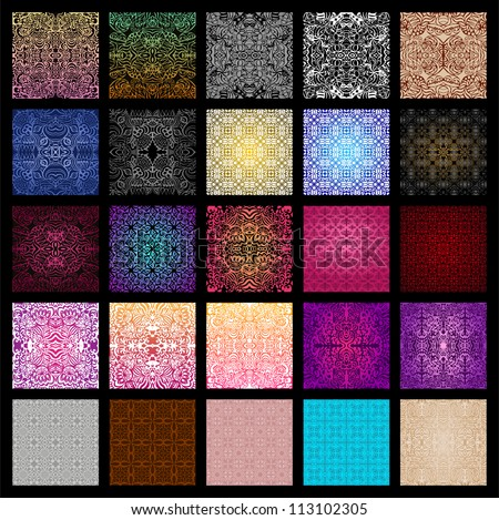 Big collection of 25 vector seamless patterns in different colors - stock vector