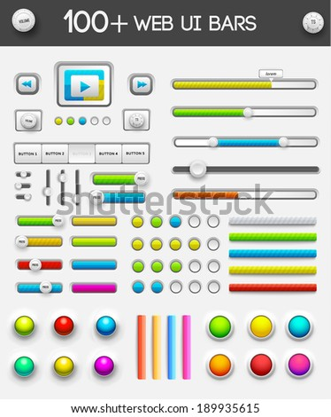 big collection of web ui elements. vector illustration - stock vector