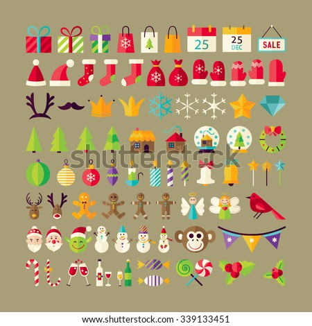 Big Collection of Winter Holidays Objects. Flat Design Vector Illustration. Set of Happy New Year and Merry Christmas Colorful Items.  - stock vector