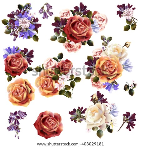 Big collection or set of realistic vector flowers for design - stock vector