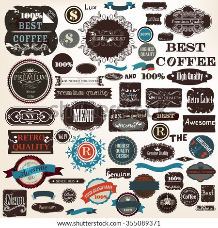 Big collection or set of vector grunge  labels premium best coffee quality in vintage style - stock vector