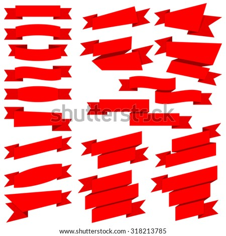 Big collection red ribbons isolated on transparent background - stock vector