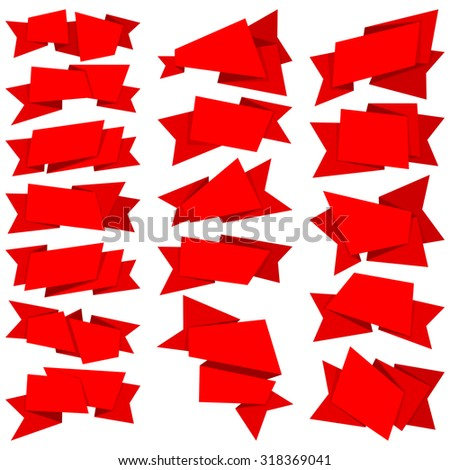 Big collection red ribbons isolated on white background - stock vector