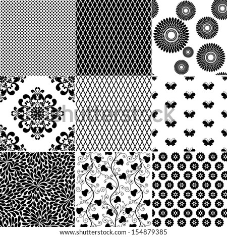 Big collection seamless vintage monochrome patterns (vector) - stock vector