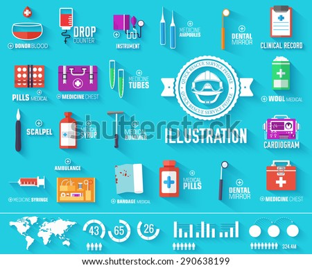 big collection set of medical equipment icons with text. Illustration elements with medicine label on blue backgrounds . Vector template for you infographics design, web and mobile applications