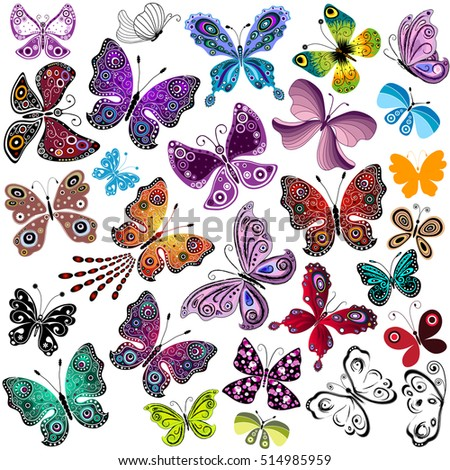 Big collection silhouette colorful butterflies for your design isolated on white, vector
