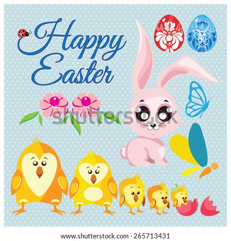 Big collection vector set of easter floral eggs, rabbit, chickens, butterfly - stock vector