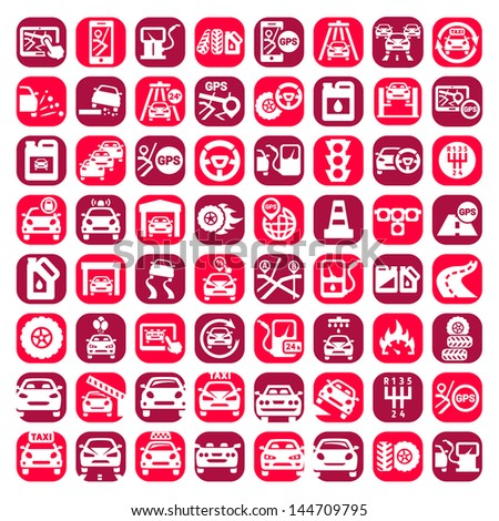 Big Color Auto Icons Set Created For Mobile, Web And Applications. - stock vector