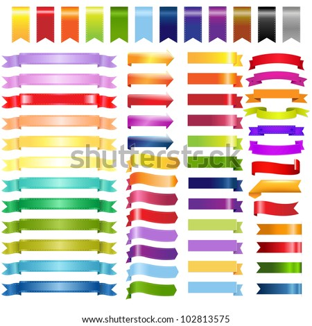 Big Color Web Ribbons And Arrows, Isolated On White Background, Vector Illustration