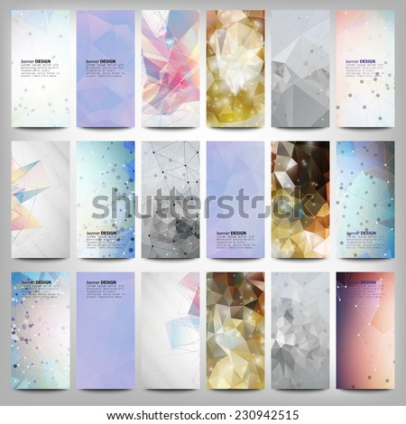 Big colored abstract banners set. Conceptual triangle design vector templates. Modern abstract banner design, business design and website templates. - stock vector