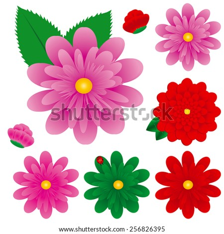 Big Colorful Gerbera Flowers Set, Vector Illustration, Gerbers - stock vector