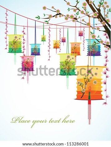 Big colorful lanterns will bring peace to prayer during Mid-Autumn Festival or Chinese New Year. Vector Illustration.