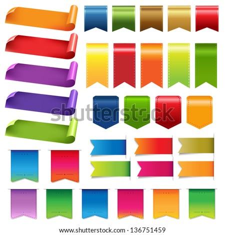 Big Colorful Ribbons And Design Elements, Isolated On White Background - stock vector