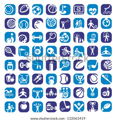 Big Colorful Sports Icons Set Created For Mobile, Web And Applications. - stock vector