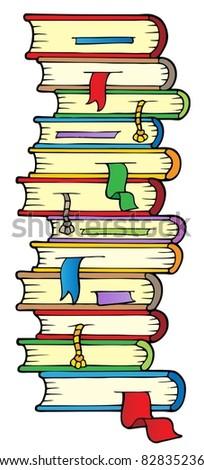 Big column of books - vector illustration. - stock vector