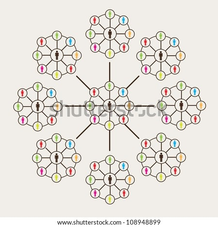 big connection of men over white background - stock vector