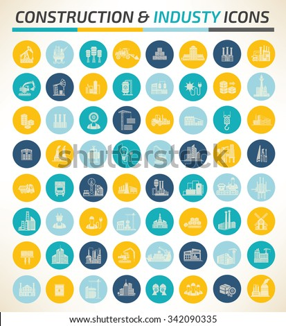 Big Construction and industry icons,vector - stock vector