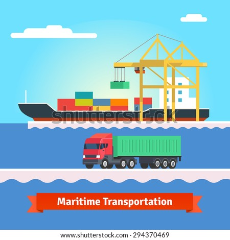 Big container ship being loaded by huge port crane. Container truck driving in harbour. Flat style vector illustration. - stock vector