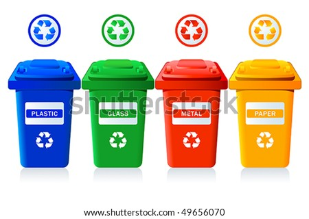 Big containers for recycling waste sorting - plastic, glass, metal, paper - stock vector