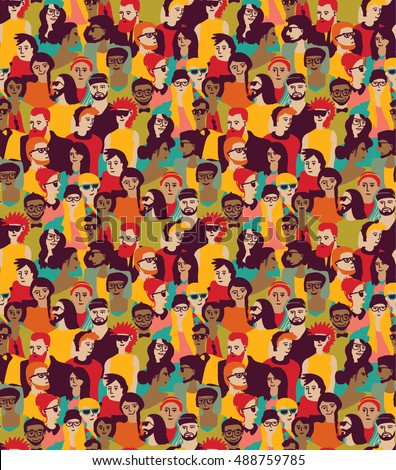 Big crowd happy people color seamless pattern. Color vector illustration. EPS8
