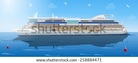 Big cruise ship in ocean. EPS 10 format. - stock vector