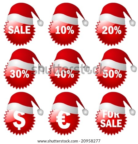 big 3d X-Mas Set of red price tags in vector design - stock vector