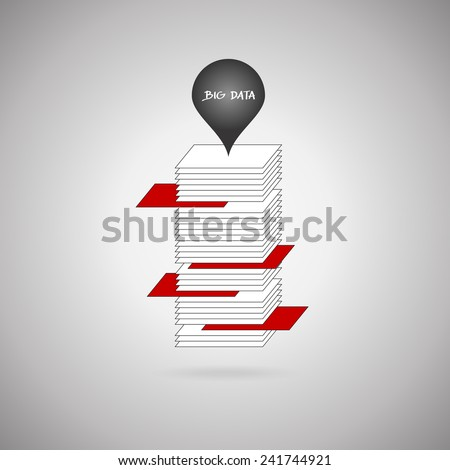 Big data analysis (bigdata) concept. Unstructured data represented by white stocks are structured (red stocks).  - stock vector