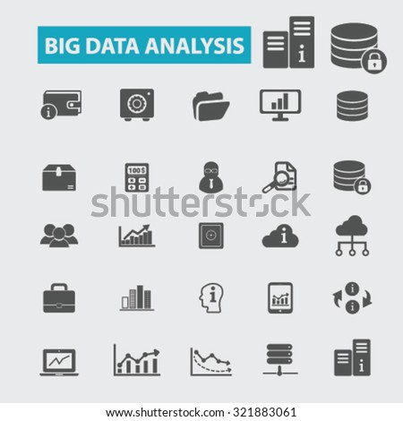 big data analysis icons - stock vector