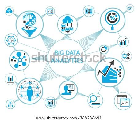 big data analytics concept, big data icons - stock vector