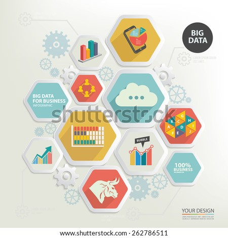 Big data and business marketing design,clean vector - stock vector