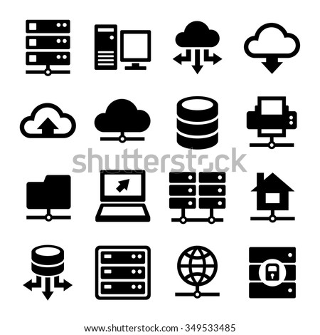 Big Data Center and Server Icons Set. Vector - stock vector